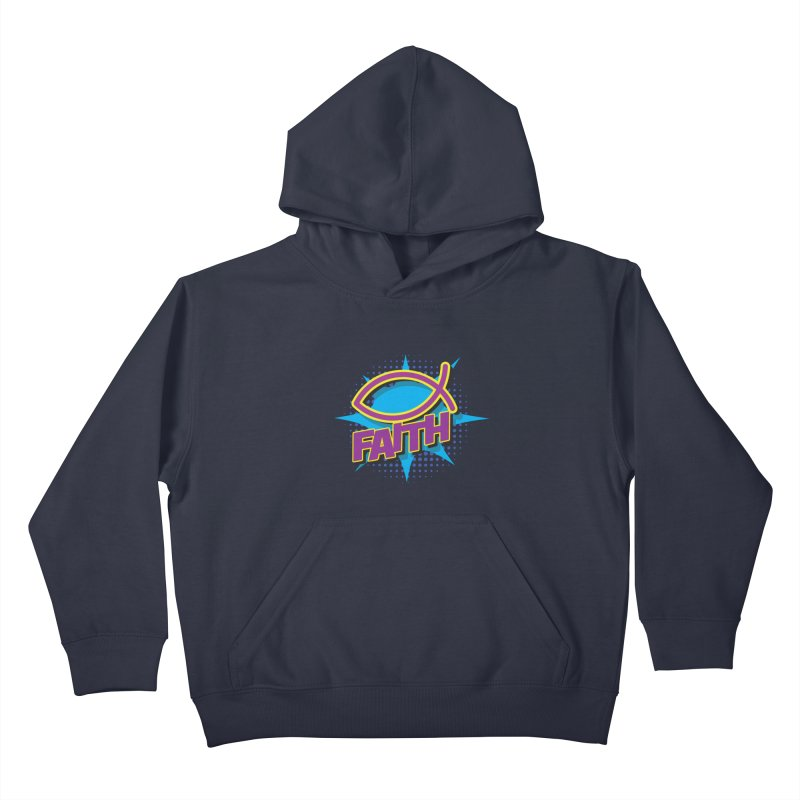 Purple and Gold Pop Art Faith Fish Kids Pullover Hoody by goofyink's Artist Shop
