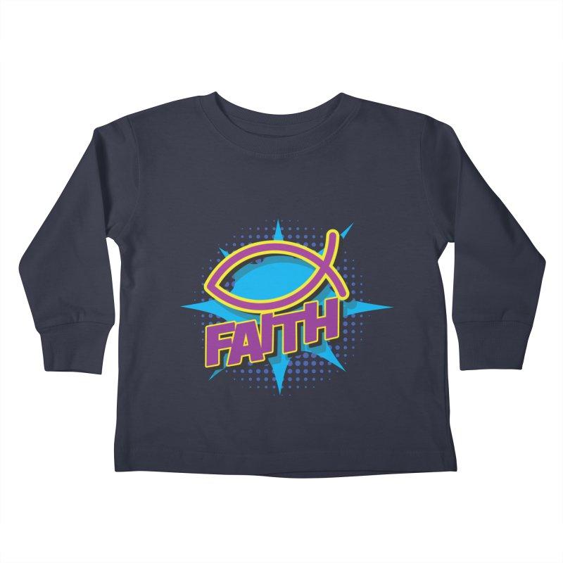 Purple and Gold Pop Art Faith Fish Kids Toddler Longsleeve T-Shirt by goofyink's Artist Shop