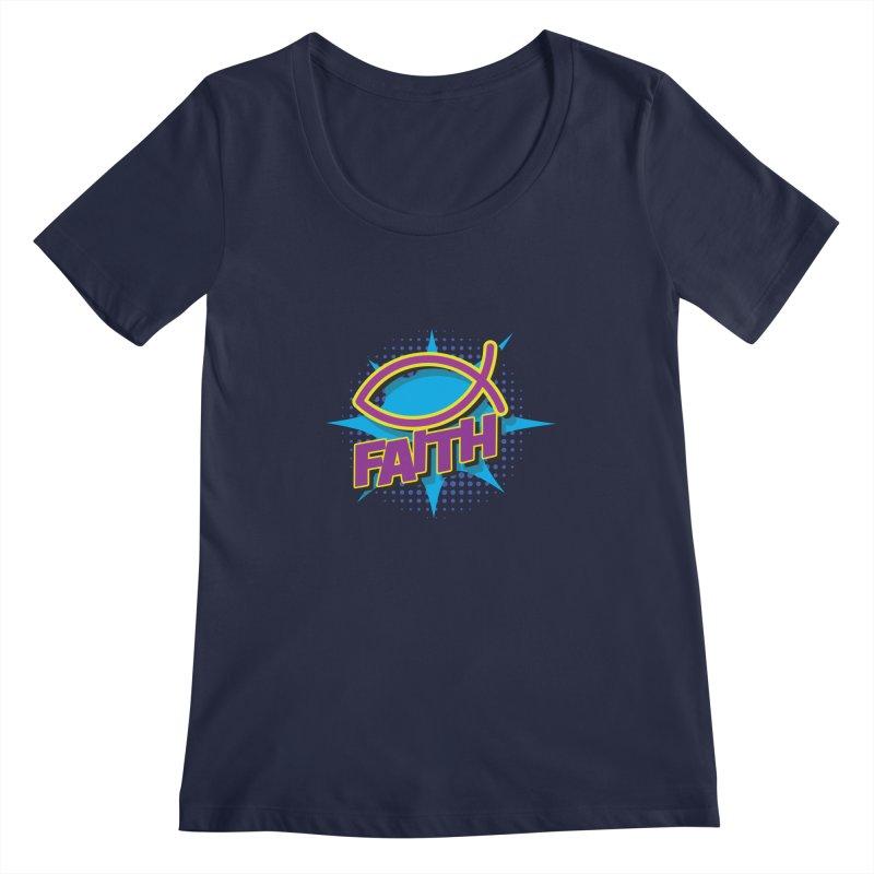 Purple and Gold Pop Art Faith Fish Women's Regular Scoop Neck by goofyink's Artist Shop