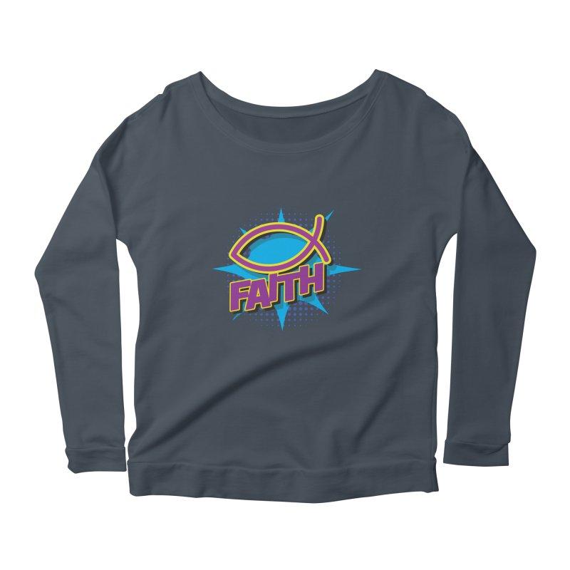Purple and Gold Pop Art Faith Fish Women's Longsleeve Scoopneck  by goofyink's Artist Shop