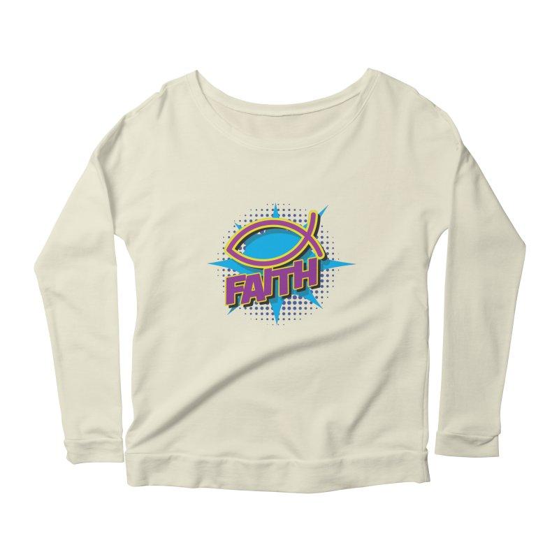 Purple and Gold Pop Art Faith Fish Women's Scoop Neck Longsleeve T-Shirt by goofyink's Artist Shop