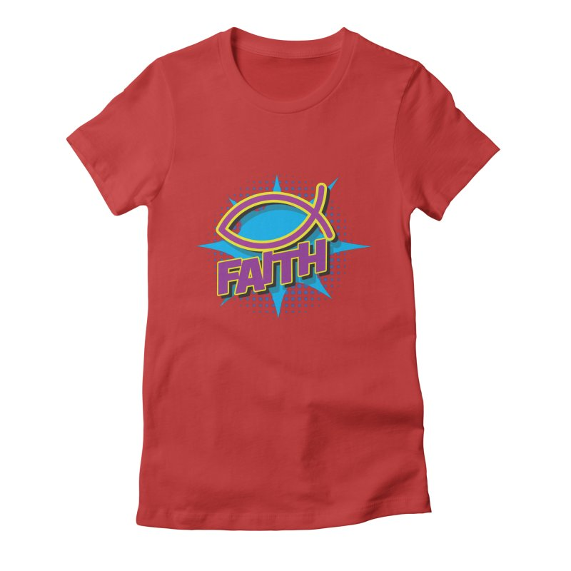 Purple and Gold Pop Art Faith Fish Women's Fitted T-Shirt by goofyink's Artist Shop