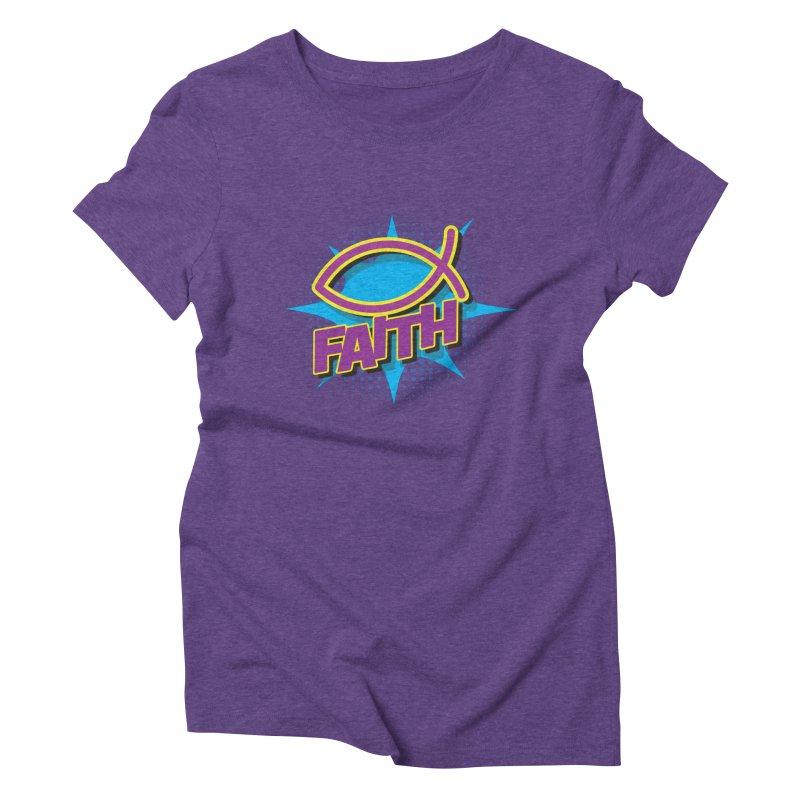 Purple and Gold Pop Art Faith Fish Women's Triblend T-Shirt by goofyink's Artist Shop