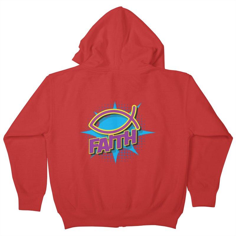 Purple and Gold Pop Art Faith Fish Kids Zip-Up Hoody by goofyink's Artist Shop