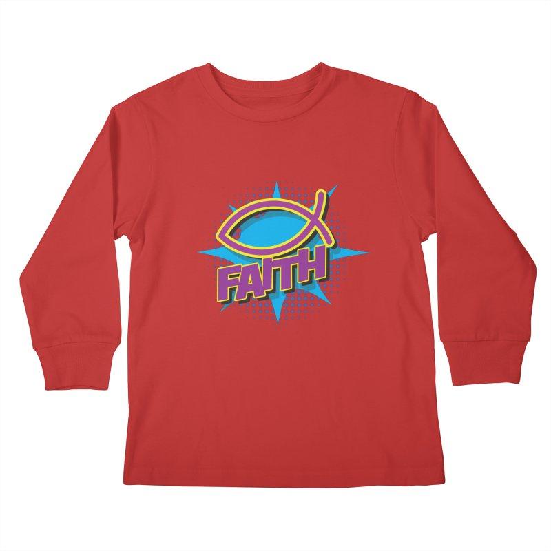 Purple and Gold Pop Art Faith Fish Kids Longsleeve T-Shirt by goofyink's Artist Shop