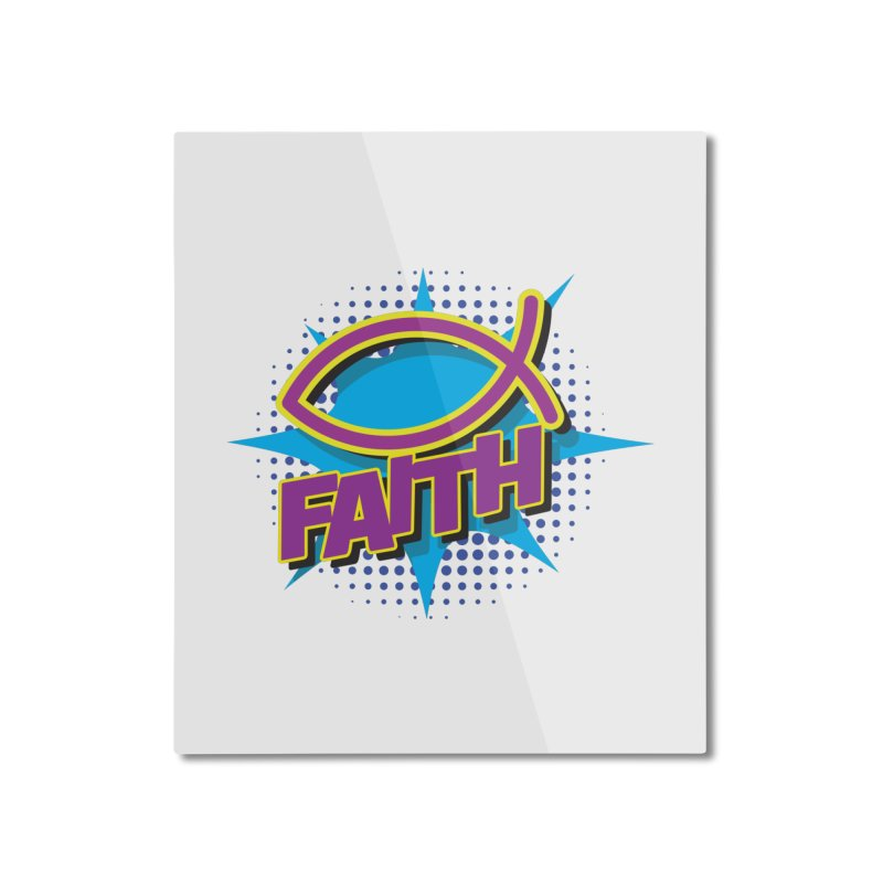 Purple and Gold Pop Art Faith Fish Home Mounted Aluminum Print by goofyink's Artist Shop