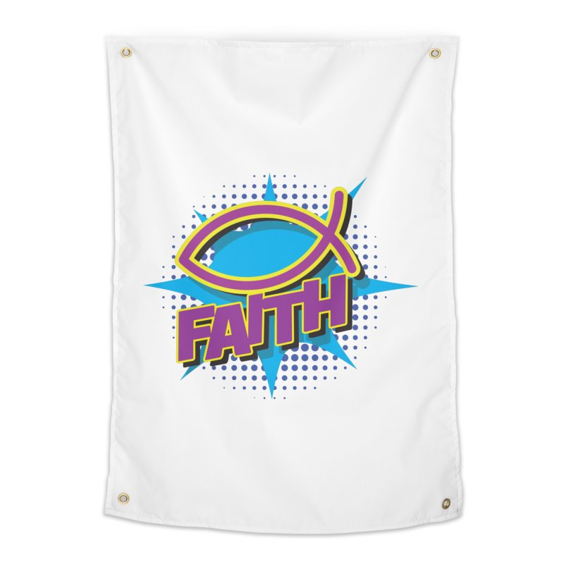 Purple and Gold Pop Art Faith Fish Home Tapestry by goofyink's Artist Shop