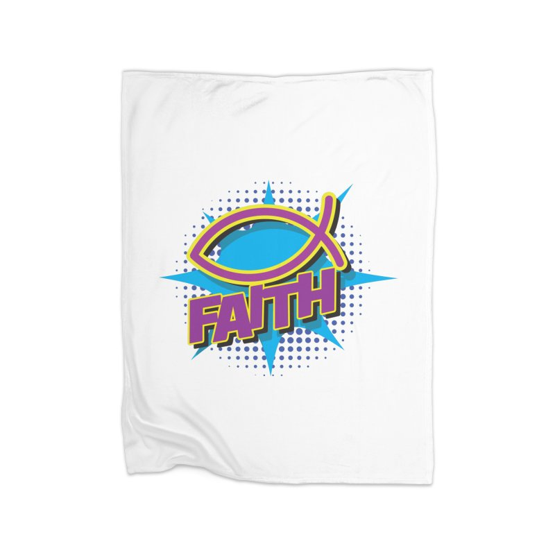Purple and Gold Pop Art Faith Fish Home Blanket by goofyink's Artist Shop