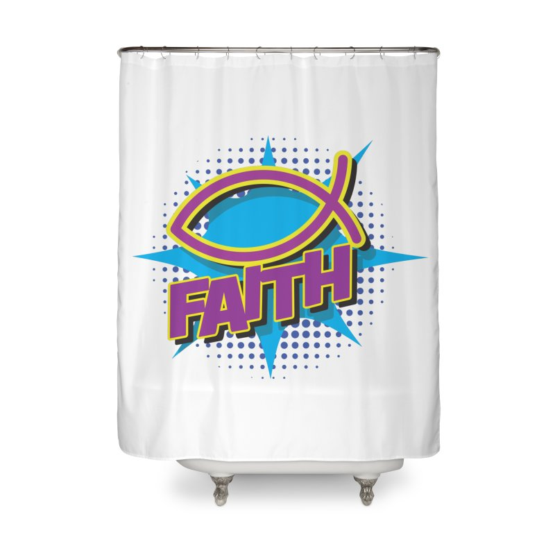 Purple and Gold Pop Art Faith Fish Home Shower Curtain by goofyink's Artist Shop