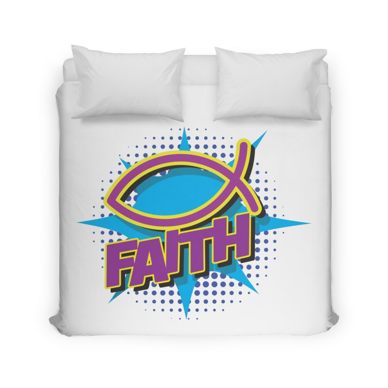 Purple and Gold Pop Art Faith Fish Home Duvet by goofyink's Artist Shop