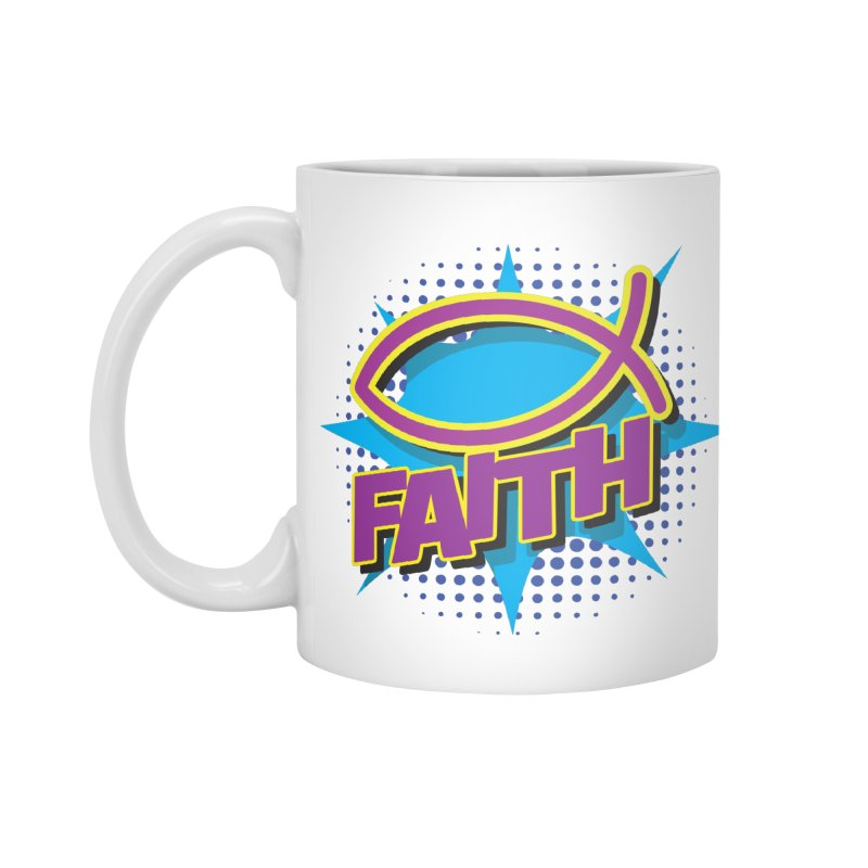 Purple and Gold Pop Art Faith Fish Accessories Mug by goofyink's Artist Shop