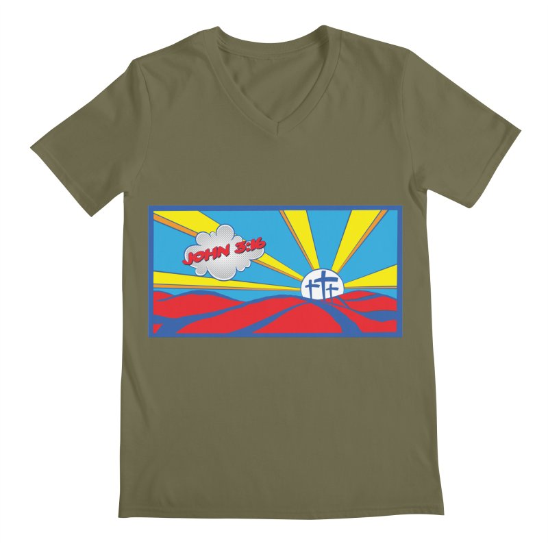 John 3:16 Pop Art Men's V-Neck by goofyink's Artist Shop