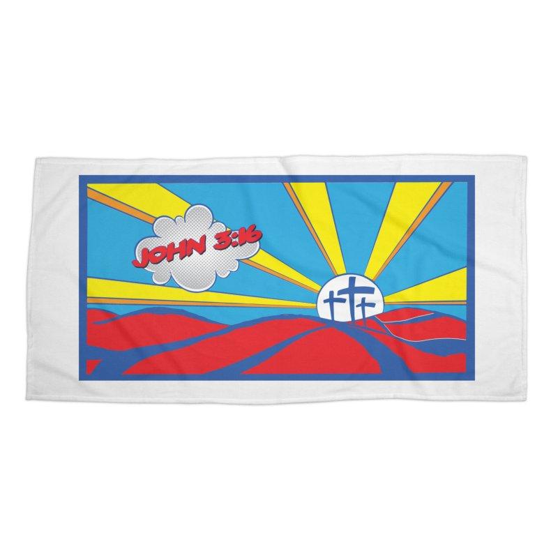 John 3:16 Pop Art Accessories Beach Towel by goofyink's Artist Shop