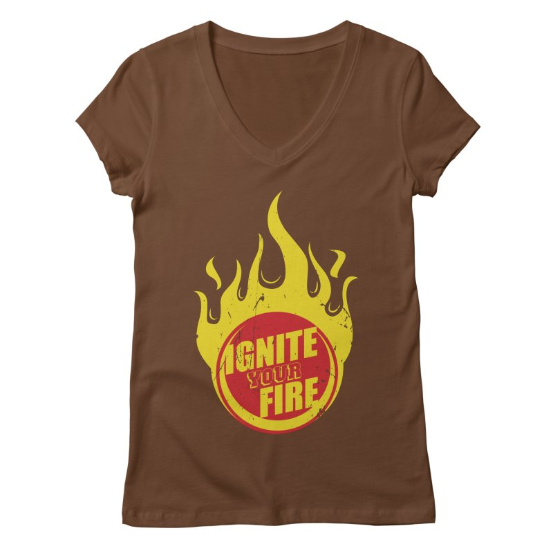 Ignite your fire Women's Regular V-Neck by goofyink's Artist Shop