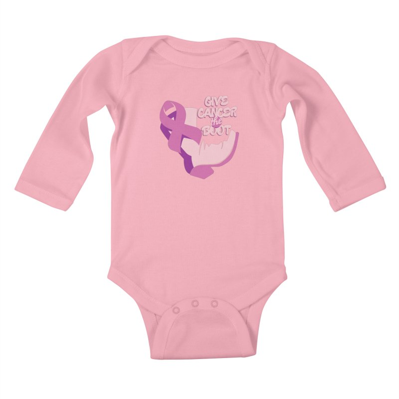 Give Cancer the Boot Kids Baby Longsleeve Bodysuit by goofyink's Artist Shop