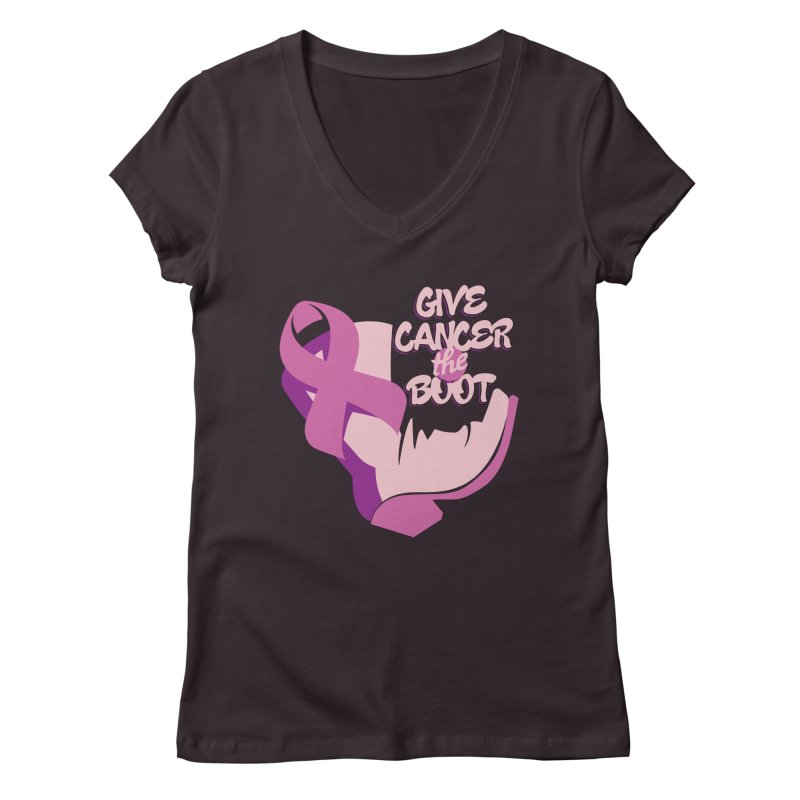 Give Cancer the Boot Women's Regular V-Neck by goofyink's Artist Shop