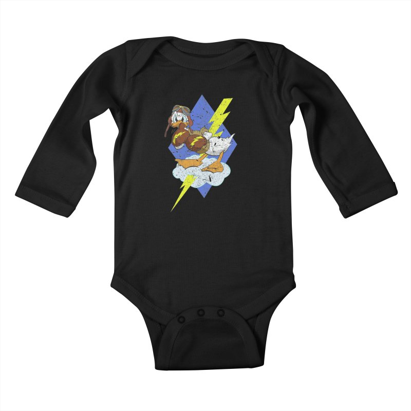 WW II  Bomber Squadron distressed design Kids Baby Longsleeve Bodysuit by goofyink's Artist Shop