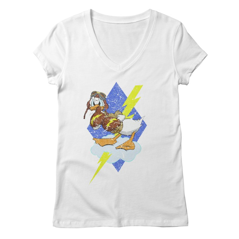 WW II  Bomber Squadron distressed design Women's V-Neck by goofyink's Artist Shop