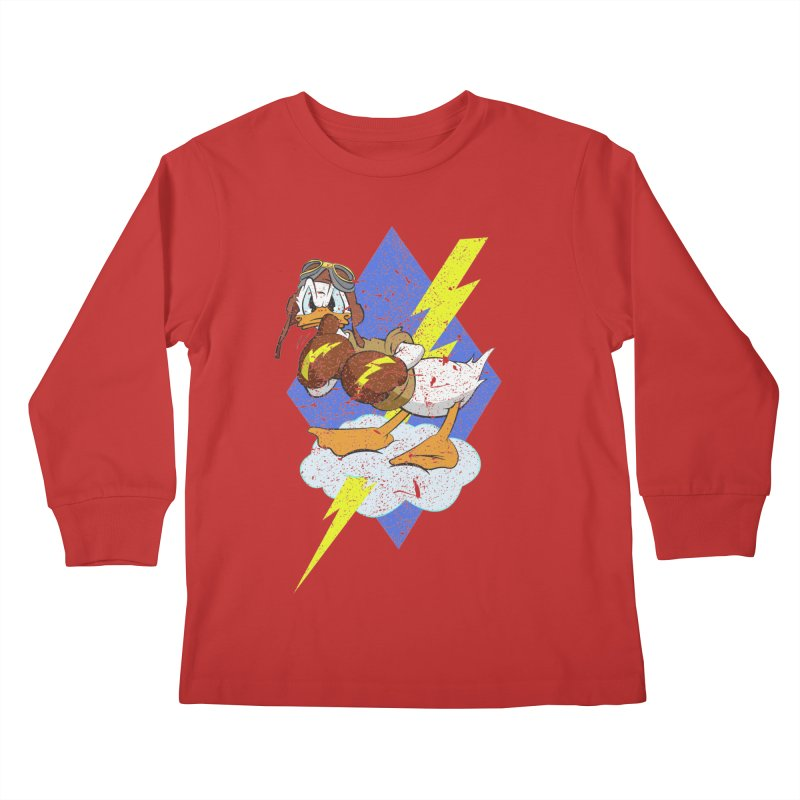 WW II  Bomber Squadron distressed design Kids Longsleeve T-Shirt by goofyink's Artist Shop