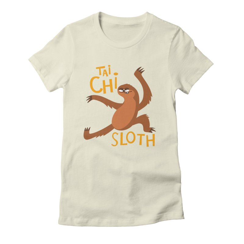 tai chi sloth Women's Fitted T-Shirt by Goopymart + Threadless