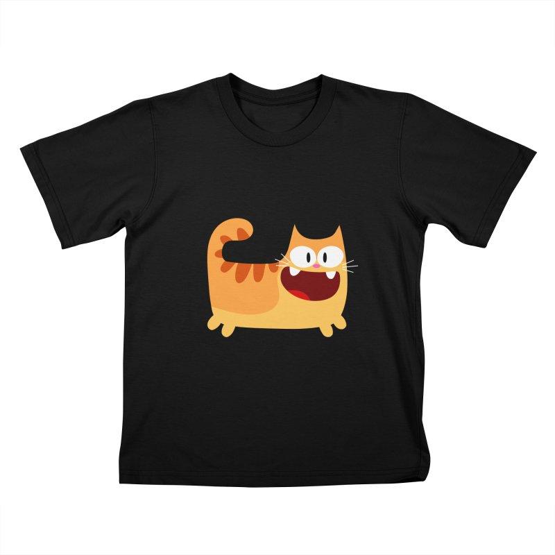 Hey Cat-Orange Kids T-Shirt by Goopymart + Threadless