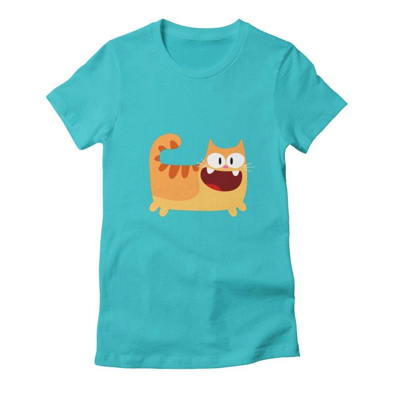 Hey Cat-Orange Women's Fitted T-Shirt by Goopymart + Threadless