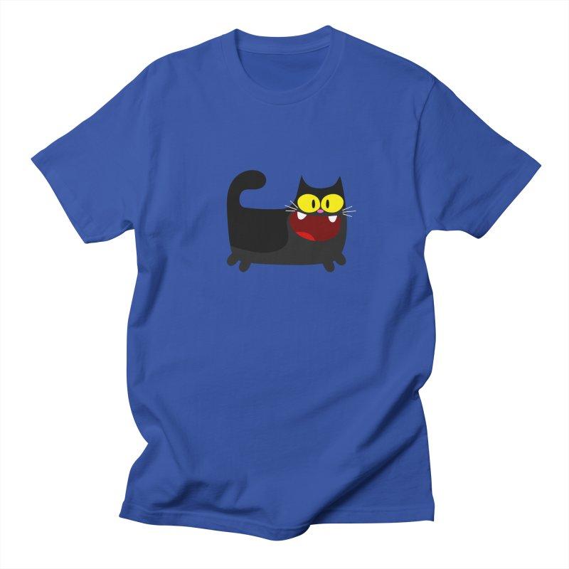 Hey Cat-Black Men's Regular T-Shirt by Goopymart + Threadless
