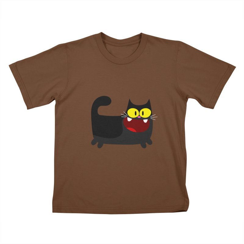 Hey Cat-Black Kids T-Shirt by Goopymart + Threadless