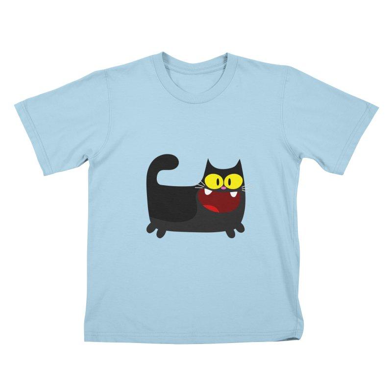 Hey Cat-Black Kids T-Shirt by Goopymart + Threadless