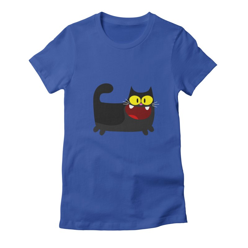 Hey Cat-Black Women's Fitted T-Shirt by Goopymart + Threadless