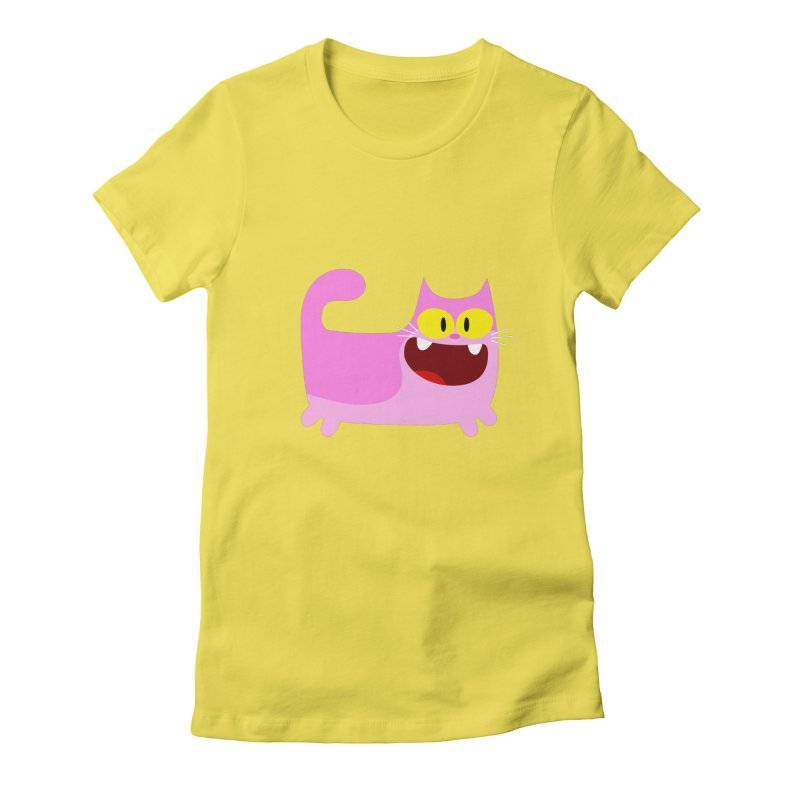 Hey Cat-Pink Women's Fitted T-Shirt by Goopymart + Threadless