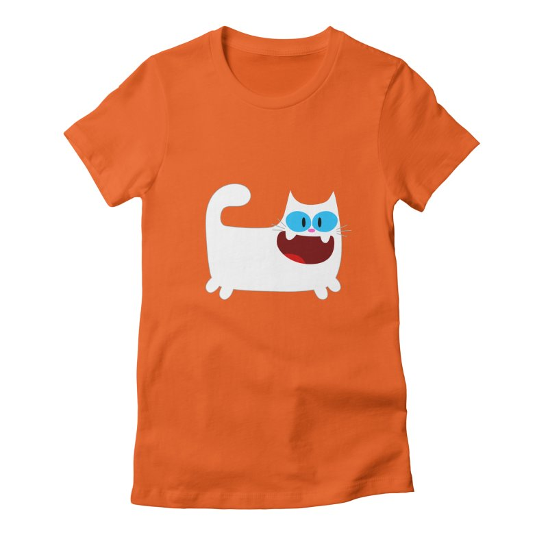 Hey Cat-White Women's Fitted T-Shirt by Goopymart + Threadless