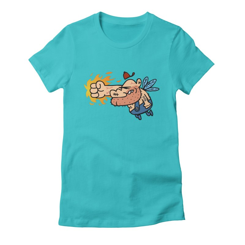 punch in the face fairy Women's Fitted T-Shirt by Goopymart + Threadless