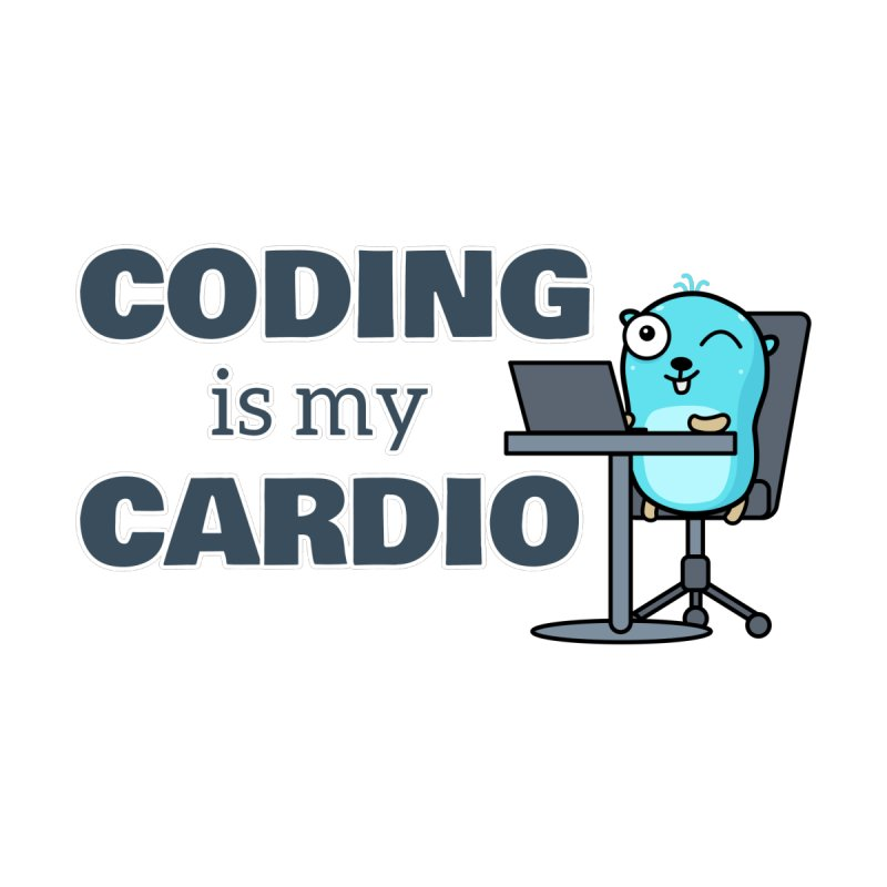 Coding is my cardio Accessories Sticker by Be like a Gopher