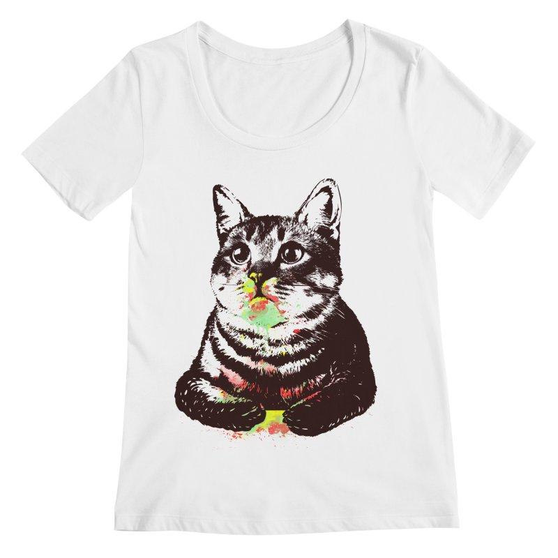 Cat_loves_watercolor Women's Scoopneck by gorix's Artist Shop
