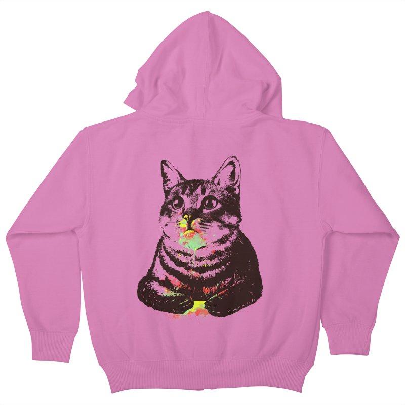 Cat_loves_watercolor Kids Zip-Up Hoody by gorix's Artist Shop
