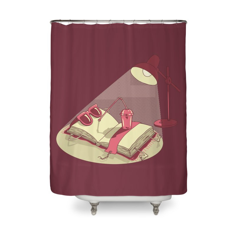 BOOK ON THE BEACH Home Shower Curtain by gotoup's Artist Shop