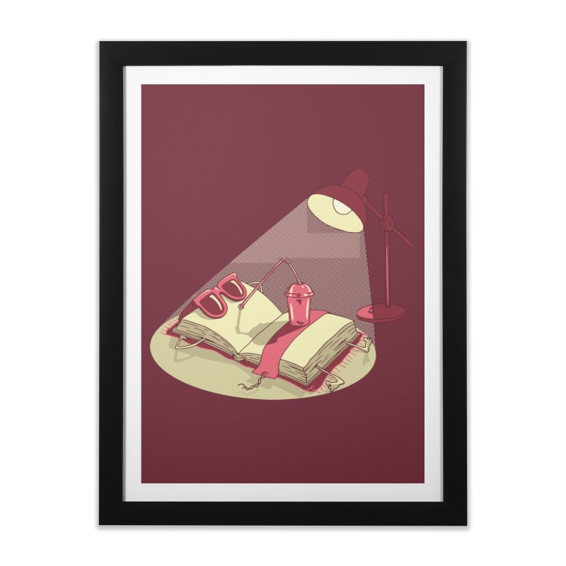 BOOK ON THE BEACH Home Framed Fine Art Print by gotoup's Artist Shop