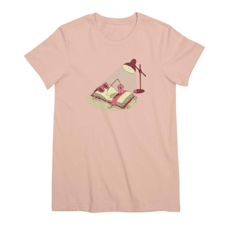 BOOK ON THE BEACH Women's Premium T-Shirt by gotoup's Artist Shop
