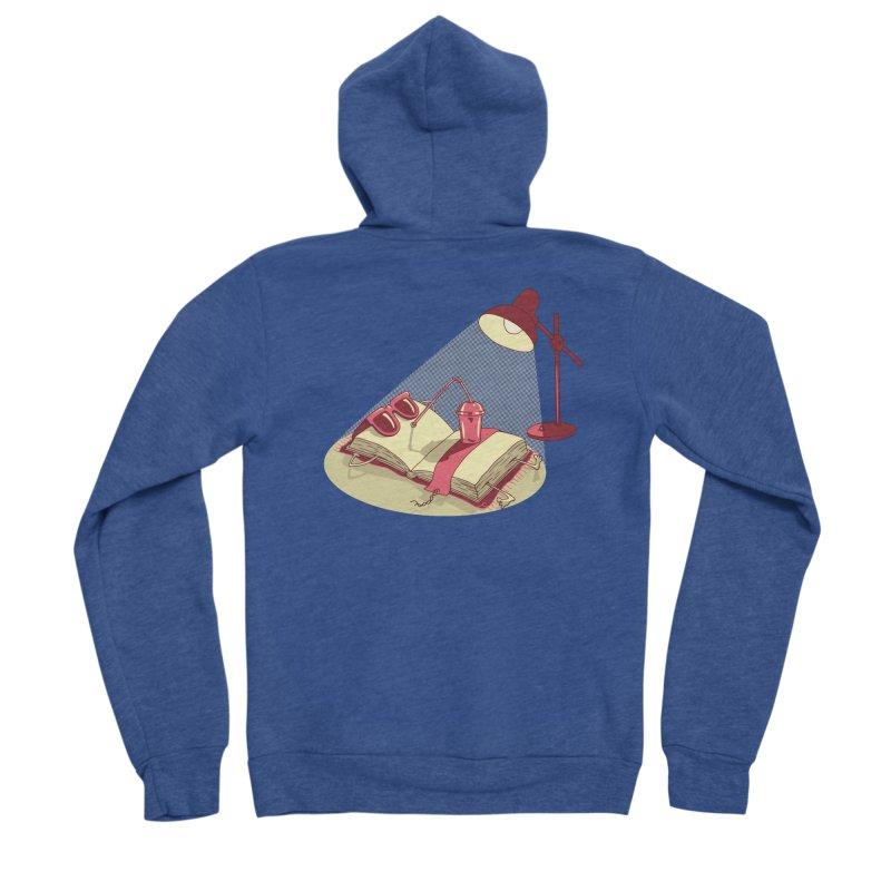 BOOK ON THE BEACH Men's Sponge Fleece Zip-Up Hoody by gotoup's Artist Shop