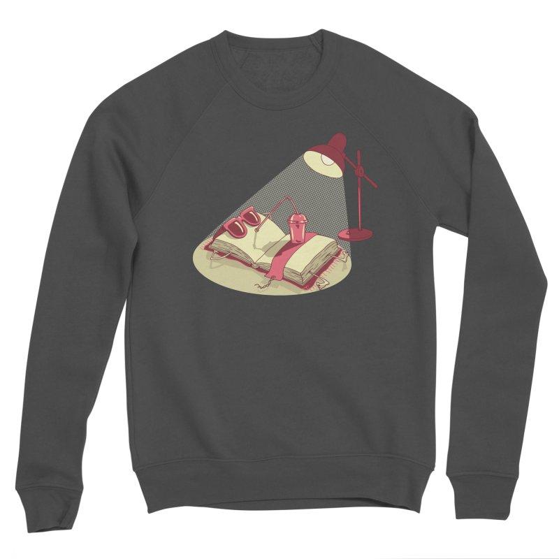 BOOK ON THE BEACH Men's Sponge Fleece Sweatshirt by gotoup's Artist Shop