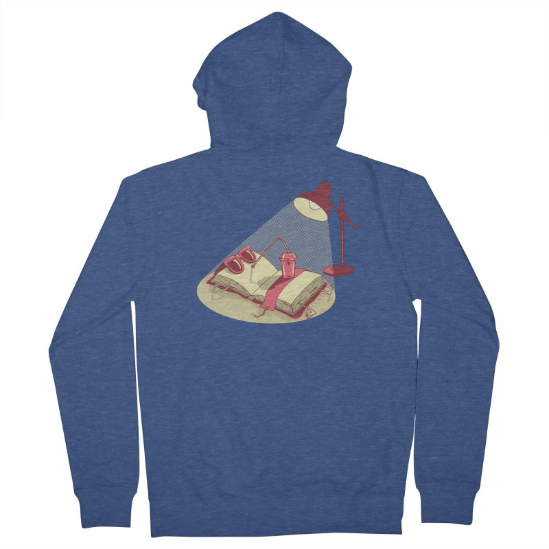 BOOK ON THE BEACH Men's French Terry Zip-Up Hoody by gotoup's Artist Shop