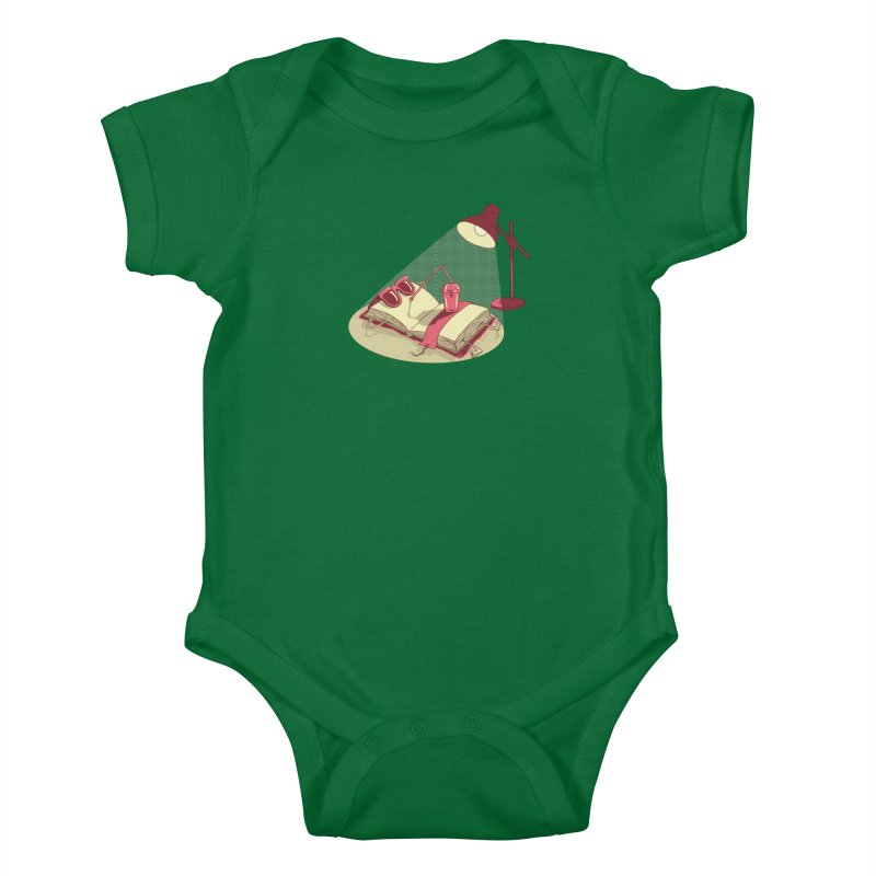 BOOK ON THE BEACH Kids Baby Bodysuit by gotoup's Artist Shop