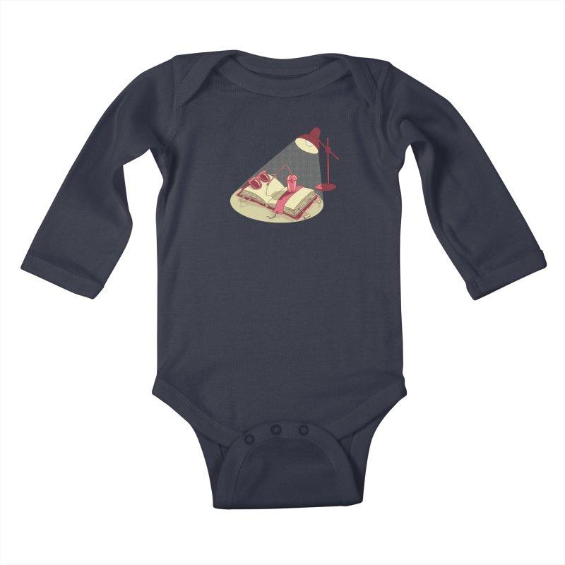 BOOK ON THE BEACH Kids Baby Longsleeve Bodysuit by gotoup's Artist Shop
