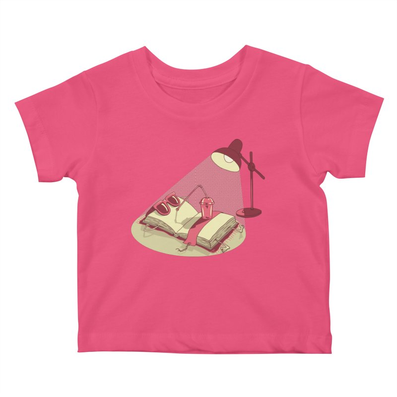 BOOK ON THE BEACH Kids Baby T-Shirt by gotoup's Artist Shop