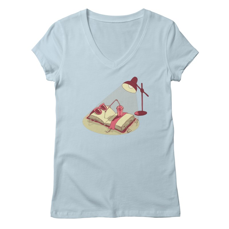 BOOK ON THE BEACH Women's Regular V-Neck by gotoup's Artist Shop