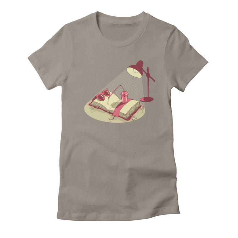 BOOK ON THE BEACH Women's Fitted T-Shirt by gotoup's Artist Shop