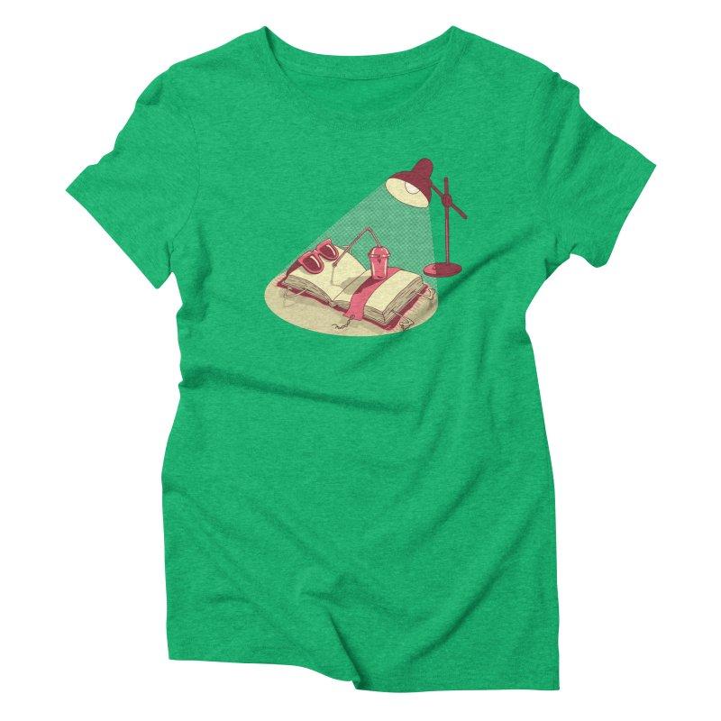 BOOK ON THE BEACH Women's Triblend T-Shirt by gotoup's Artist Shop