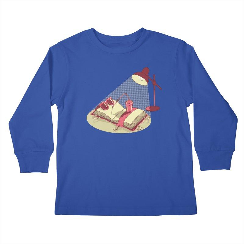 BOOK ON THE BEACH Kids Longsleeve T-Shirt by gotoup's Artist Shop