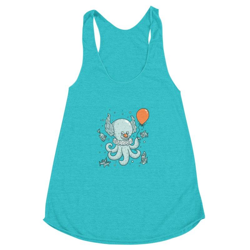 octopus clown Women's Racerback Triblend Tank by gotoup's Artist Shop